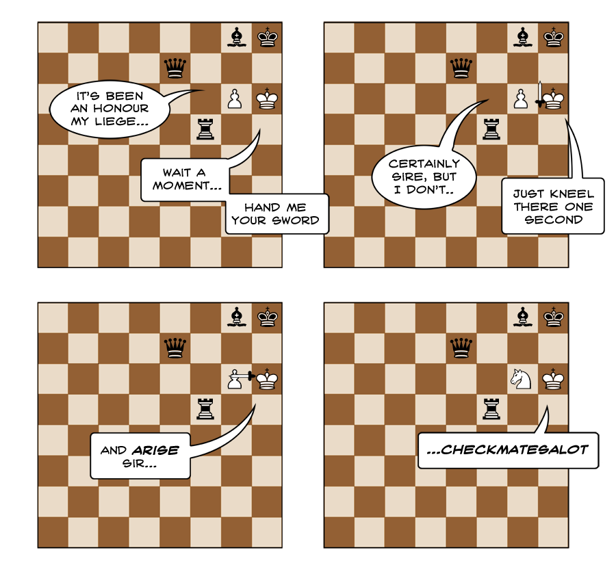 Chess fans might be interested in the sequence of moves that would arise from this 'move' if the bishop wasn't there. My guess is the non-chess inclined probably won't be.