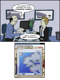 Genuinely, I had to play about a dozen games of minesweeper until I had one appropriate to use in this comic. Urge to play more... growing...