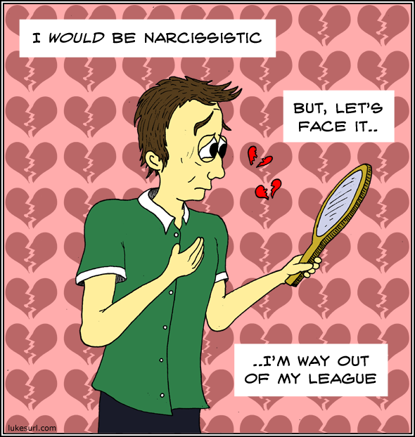 This comic about narcissism was bought to you by a website containing a massive banner of the artist's name. Ho hum.