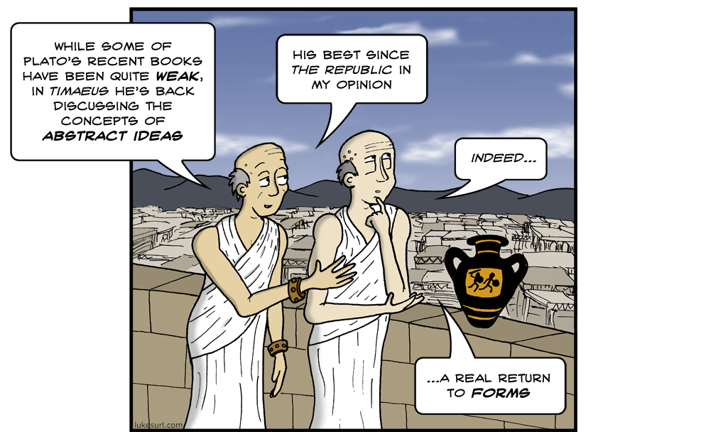 Yes! Puns about 4th century B.C. Greek philosophy! This can't NOT go viral!