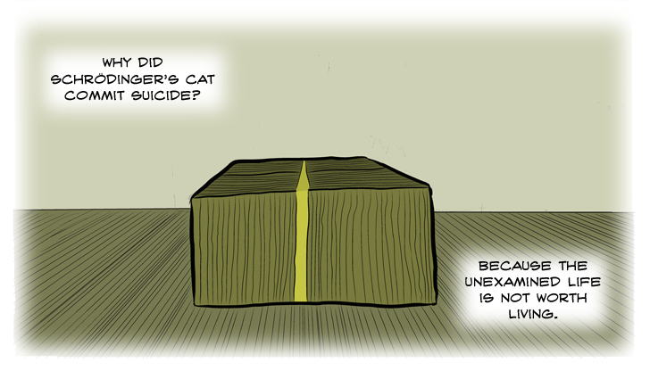 Schrödinger's cat was once framed for murder in the old west. There were posters everywhere: WANTED: DEAD AND/OR ALIVE