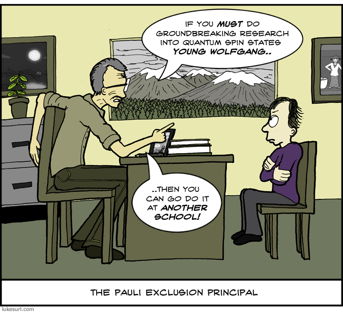 The next school Mr. and Mrs. Pauli found seemed great, but unfortunately they already had a pupil with the exact same quantum numbers